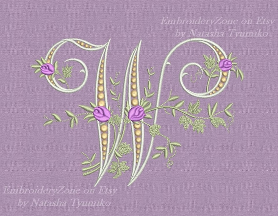 w monogram machine embroidery design letter w from beautiful
