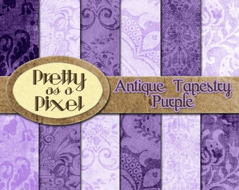 Antique Tapestry - Purple - INSTANT DOWNLOAD - Digital Paper Pack - Scrapbooking Backgrounds - 12 x 12 - Set of 12
