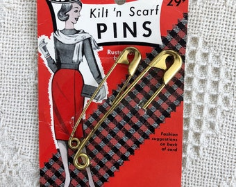 Vintage Kilt and Scarf Pin by Risdon New On Card