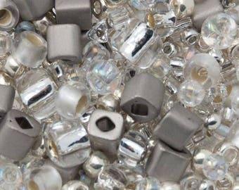 TOHO seed beads mix - Junpaku (Crystal - silver)