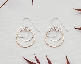 Gold and Sterling Silver Clustered Circle Earrings, Gold & Silver Circle Earrings, Mother Earrings, Mom Jewelry, Mixed Metal Circle Earrings