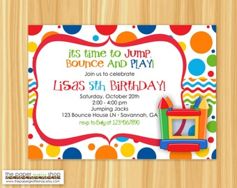 Bounce House Invitation   Bounce House Birthday Party   Bounce House Party   Girl Party   DIY Printable