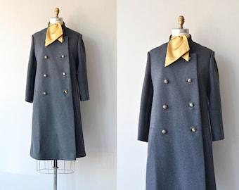 Gray Melton coat • vintage 1960s wool coat • gray 60s peacoat
