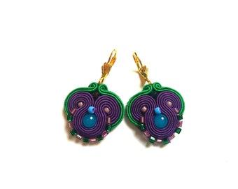 Adelina - Soutache Earrings, colorful earrings, boho and folk, bright, optimistic jewelry