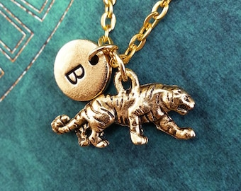 Tiger necklace etsy tiger necklace gold tiger charm personalized necklace pendant necklace animal necklace engraved necklace wild animal keychain mozeypictures Gallery