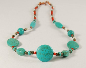 Platform Court necklace with turquoise stones, beads of coral, rock crystal and copper components, copper wire