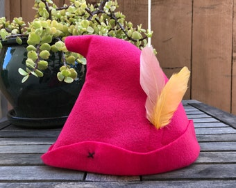 Hot Pink Peter Pan Hat with Cream & Yellow Feathers