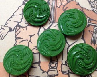 5 green art nouveau glass buttons - 22 mm self shank buttons (182)