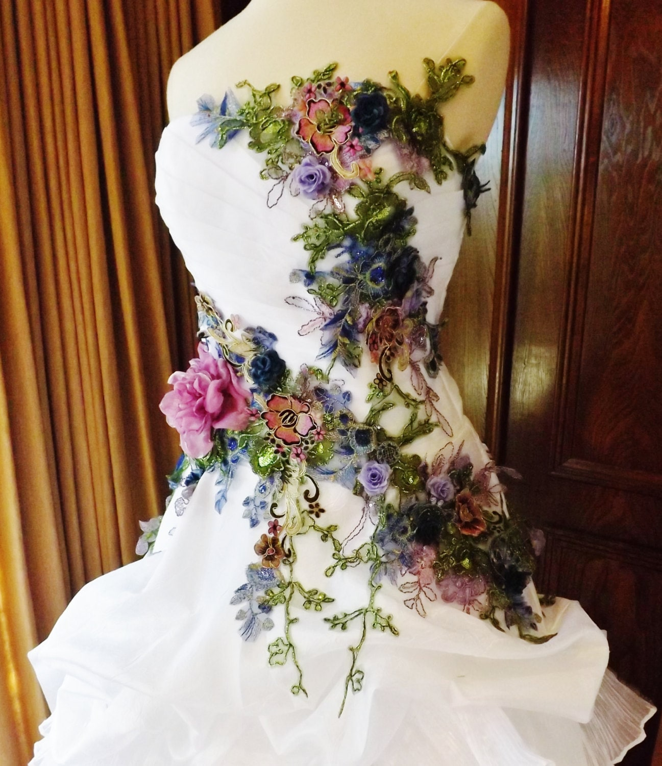 MADE TO ORDER Victorian Wedding Dress Train White Multicolor