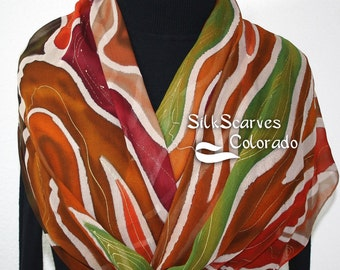 Silk Scarf Hand Painted Chiffon Silk Shawl Brown Green Brick Red Silk Scarf FOREST BEAUTY Large 14x72 Birthday Gift Scarf Gift-Wrapped Scarf