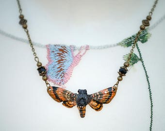 Moth Necklace Bronze/gold/copper 4.5 cm