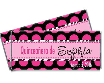 Quinceanera Candy Bar Wrappers - Girls Quinceanera Party Favors - Set of 12