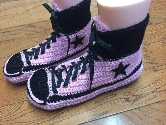 Womens converse converse high Listing 10 slippers converse crocheted slippers crochet pink tennis shoe top 272 converse sneaker 8 Crocheted fgxzPq6ww