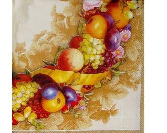 Set of 3 fruity FRU054 Crown paper napkins