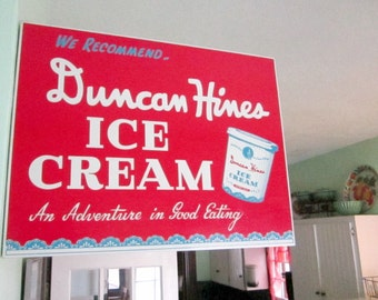 Vintage Ice Cream Sign 50s Advertising Double Sided Metal Duncan Hines Sign
