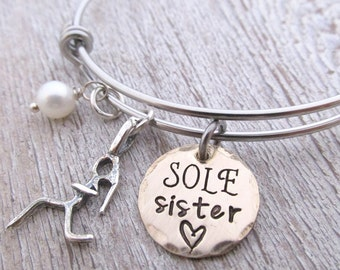 Sole Sister Bracelet - Runner Jewelry - Runner Girl Bracelet - running jewelry - personalized jewelry - gift for runner