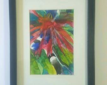 "Original Framed Watercolor ""Red Daisy"""