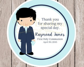 Boys First Holy Communion Favor Tags or Stickers / Personalized Communion Tags Blue  / Choose Hair & Skin Color / Set of 12 - HC19