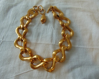 anne klein couture necklace matte gold plated statement signed vintage bold choker