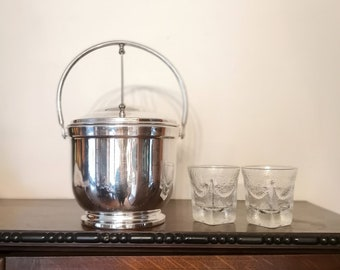 Silver Plated  Ice Bucket, Levered Lid, Insulated Milk Glass Liner, Bar Cart, Hollywood Regency Mid Century Barware