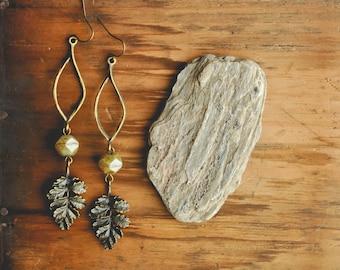 boho forest fern earrings.