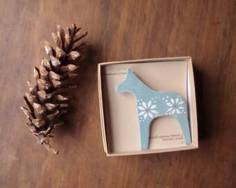 dala horse wooden brooch pin - sweater weather scandinavian folk inspired