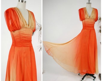 Vintage 1940s Gown -Incredible Ombré Sunset Ruched Chiffon Evening Dress with Flowing Skirt and Glowing Gold to Blood Orange Hues