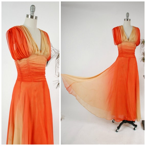 Vintage 1940s Gown Incredible Ombré Sunset Ruched Chiffon