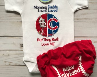 Baseball house divided baby bodysuit and baseball diaper cover.  You pick teams