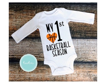 Girls My first basketball season | baby basketball one piece bodysuit | infant basketball outfit