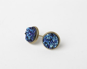 Stocking Stuffer Gift For Her, Druzy Stud Earrings, Post Druzy Earrings, Blue Druzy Jewelry, Faux Druzy Earrings, Blue Sparkle Earrings