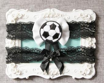 Wedding Garter Set Bridal Garter Set - Football Garter Set Soccer Garter Set Black White Lace Garters Keepsake Garter Toss Garter Sport