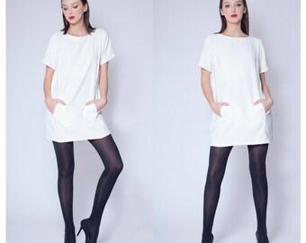 Dress - Women's Dress - White Mini Dress - Simple Mini Dress - White Wedding Dress - Beach dress-Little White Dress-Minimal - Office dress