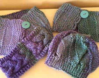 Sister sets, hats and cowls and headbands, big sister and little sister sets, hand-knit hats and cowls