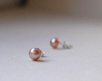 Pink Pearl Studs, Pearl Post Earrings, Pink Studs, Pearl Stud Earrings, White Pearl Studs, Pearl Jewelry, Blush Pink Earrings