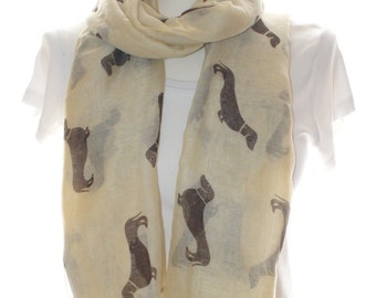 Beige Dog print scarf, Beach Wrap, Cowl Scarf, dog print scarf, cotton scarf, gifts for her