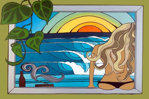 11x14 Large Print, Woman Watching Waves at Sunset, Beachy Ocean Framable Wall Art by Lauren Tannehill ART