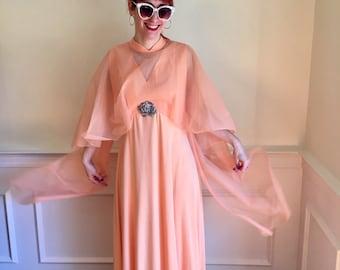 Peach Polyester 1970s Cape Effect Vintage Formal Maxi Dress (Sz 10/12)