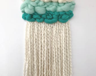 Green Ombre Woven Wall Hanging, Woven Tapestry, Fluffy Woven Wall Art, Weaving, Fringed Wall Hanging, Wall Weaving
