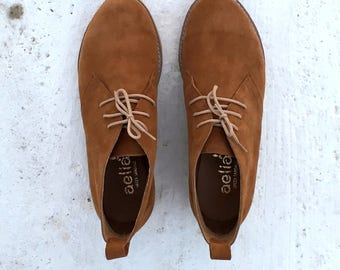 Camel Leather Woman Booties