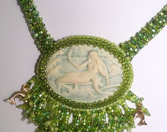 sea green mermaid bead embroidered necklace