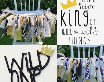Wild One - highchair banner - cake smash, birthday garland, party decor