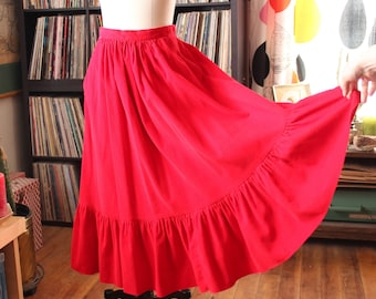 vintage  70s 80s corduroy skirt . long red cord prairie skirt with ruffled hem, country western full skirt with pockets, womens size small