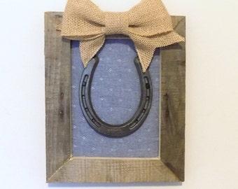 Rustic, Framed Horseshoe Art - Reclaimed Wood with Calico Backing - Rustic Farmhouse Decor - Horseshoe Decor, Horse Decor - Equestrian Gift