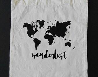 ORGANIC. Wanderlust.  Organic cotton hand painted tote bag. World map bag.