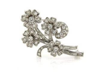 20620 - Estate Diamond & Platinum Spinning Floral Spring Brooch Pin