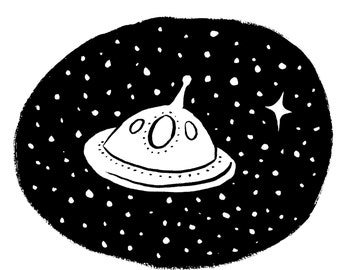 UFO Outer Space Ink Drawing Digital Art print