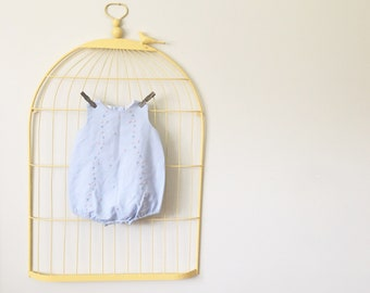 Vintage Robin's Egg Blue Embroidered Bubble Fit Romper (Size 9 Months)
