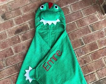 Dinosaur Hooded Towel~Personalized Hooded Towel~Embroidered Hooded Towel~Kids Towel~Kids Hooded Towel