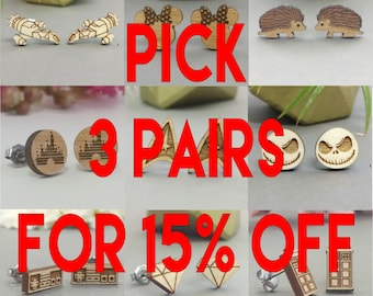 Pick Any 3 Earrings In Stock for 15% Off - Star Wars - TARDIS - Anchor - Star Trek - Bicycle - Frozen - Disney - Harry Potter